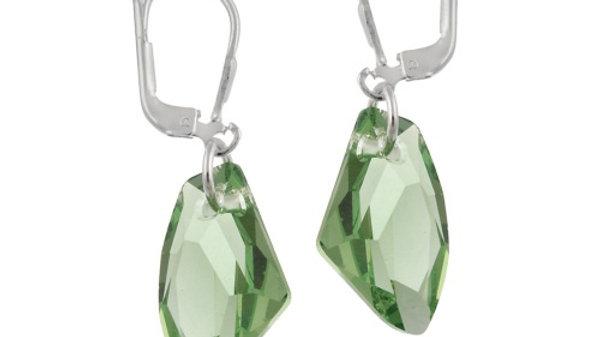 Sterling Silver Peridot Swarovski Elements Rock Dangle Earrings