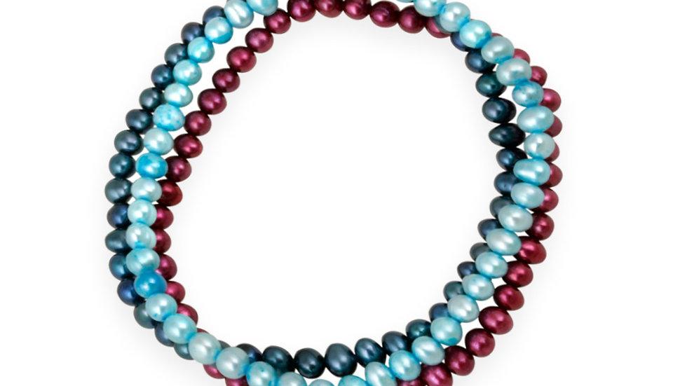 5-5.5mm Fuchsia, Teal, Night Blue Freshwater Cult. Pearls Stretch Bracelets