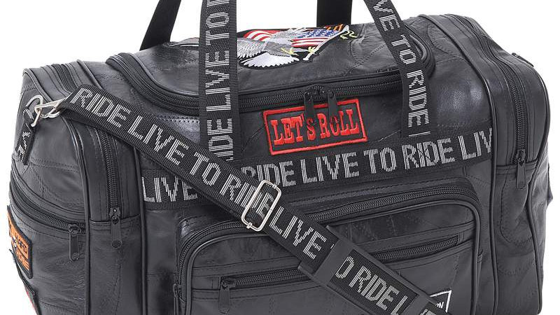 """17.5"""" LEATHER LTR DUFFLE BAG"""