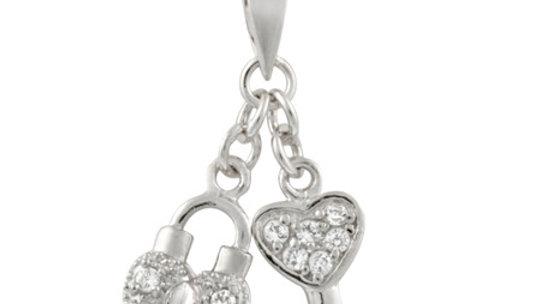 Sterling Silver Heart Lock & Key CZ Pendant
