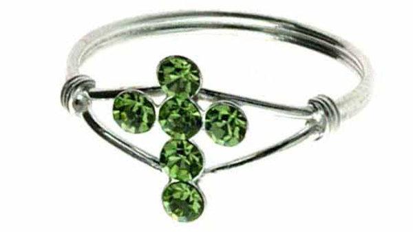Sterling Silver Light Green CZ Cross Junior Ring