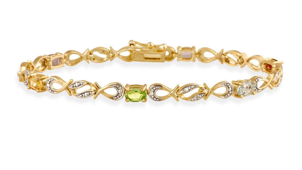 18K Gold over Silver Multi Gemstone & Diamond Accent Swirl Infinity Bracelet