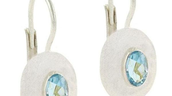 Sterling Silver Blue Topaz Oval Leverback Earrings