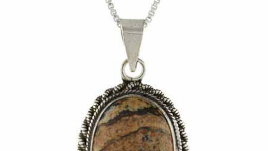 Genuine Picture Jasper Stone Twisted Sterling Silver Border Oval Pendant