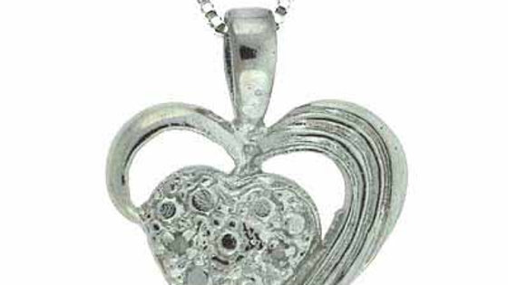Sterling Silver Diamond Accent Heart within a Heart Pendant