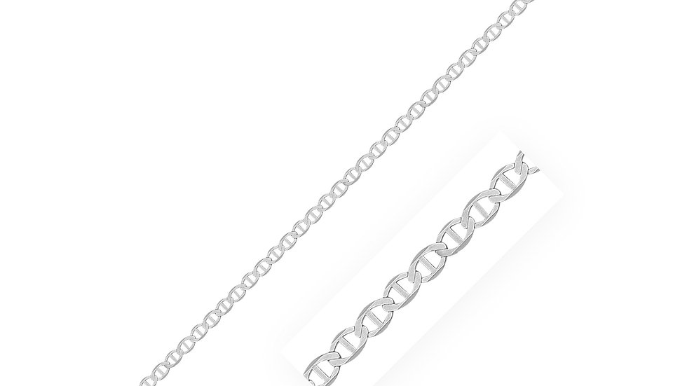 2.8mm Sterling Silver Rhodium Plated Flat Mariner Chain