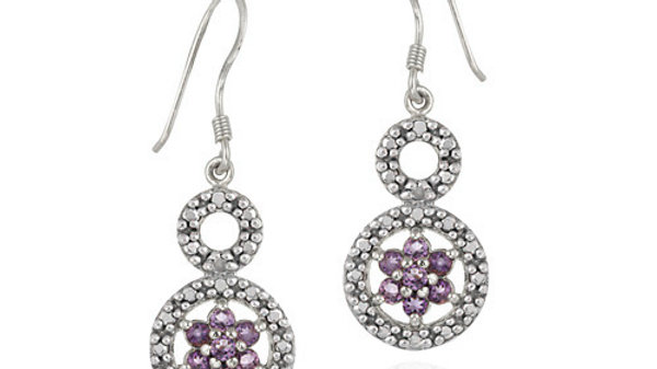 Sterling Silver Amethyst & Diamond Accent Double Circle and Flower Earrings