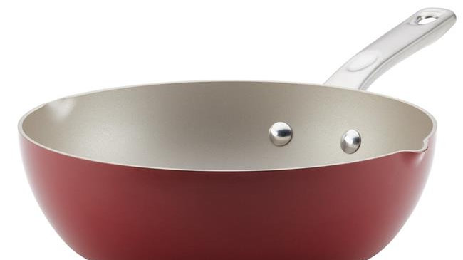 Ayesha Curry Porcelain Enamel Nonstick Chef Pan with Pour Spouts; Sienna Red