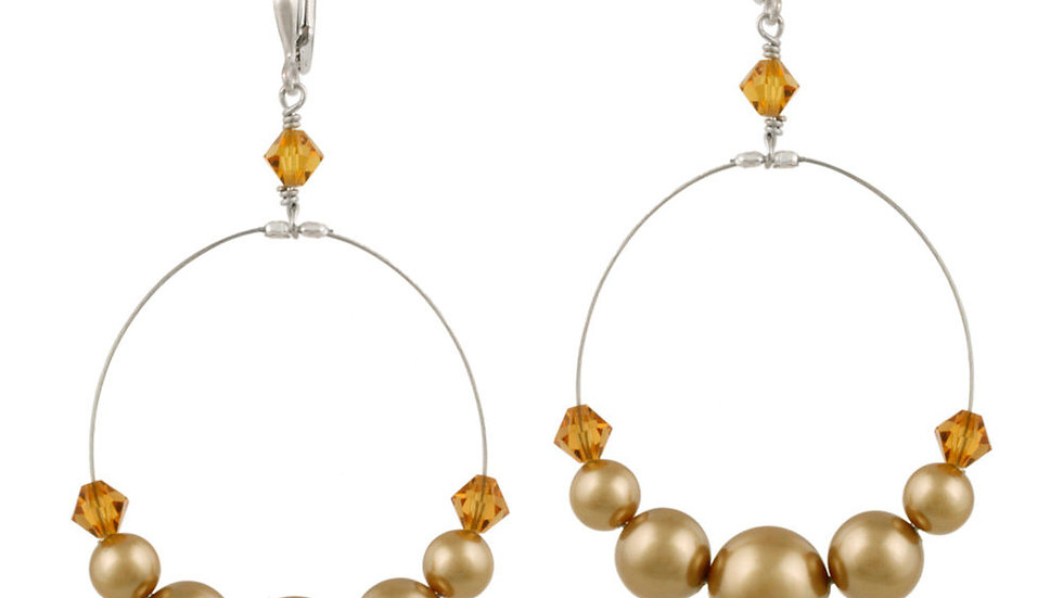 Silver Gold Swarovski Pearl Elements & Crystal Dangle Wire Leverback Earring