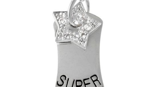 Sterling Silver 'Super' Star CZ Dog Tag Necklace
