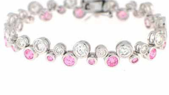 Sterling Silver Pink & Clear CZ Designer Inspired Bubble Bracelet