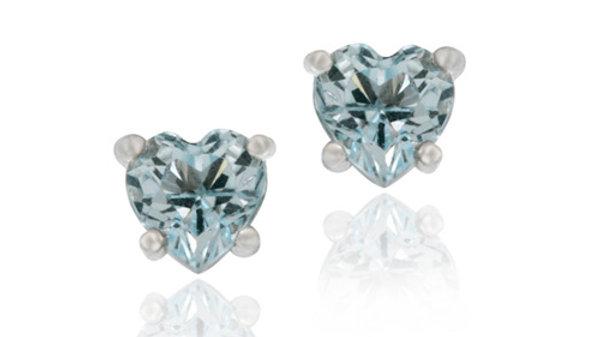 Sterling Silver 1ct Blue Topaz 5mm Heart Stud Earrings