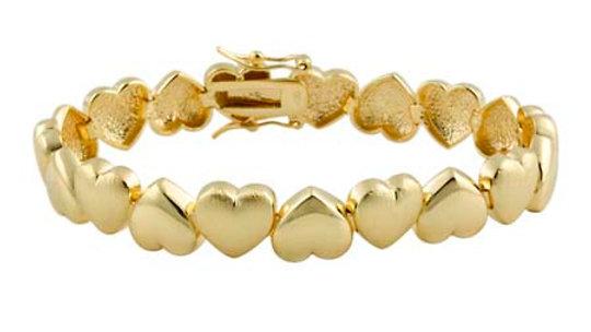 18k Gold over Silver Polished & Brushed Heart Bracelet