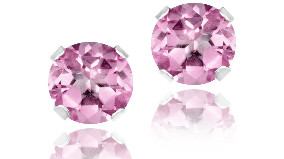 Sterling Silver 1ct Light Pink CZ Stud Earrings, 5mm