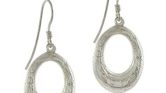 Sterling Silver Oval Flower Puff Dangle Earrings