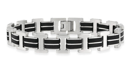 "Stainless Steel and Rubber ""I"" and Double Bar Design Men's Link Bracelet"