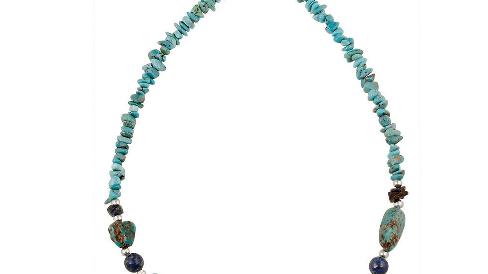 Denim Lapis, Created Turquoise Chips & Nuggets  w/ Sterling Silver Beads