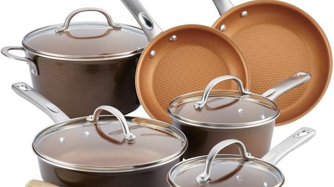 Ayesha Curry 10767 Porcelain Enamel Nonstick Cookware Set; Brown Sugar; 12 Piece