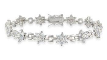 Sterling Silver Lavender& Clear CZ Flower Link Bracelet