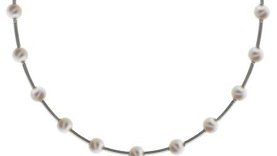 Sterling Silver .925 Simulated White Pearl Stone Bar and Bead Necklace