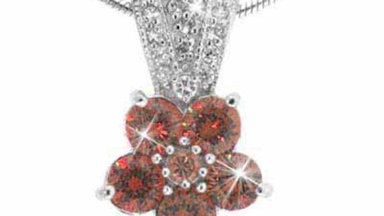 Sterling Silver Simulated Diamond CZ and Orange CZ Pave Flower Pendant
