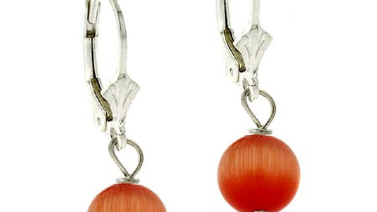 Sterling Silver 8mm Orange Cats Eye Leverback Earrings