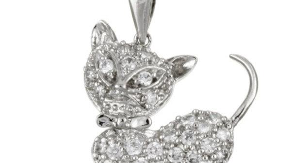 Sterling Silver CZ Cat Pendant