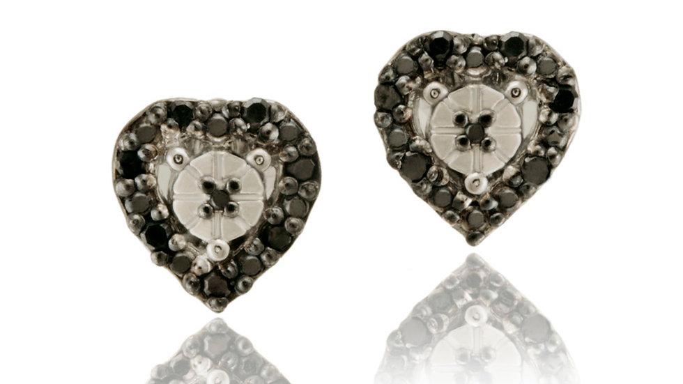 Sterling Silver 1/8ct TDW Black Diamond Heart Stud Earrings