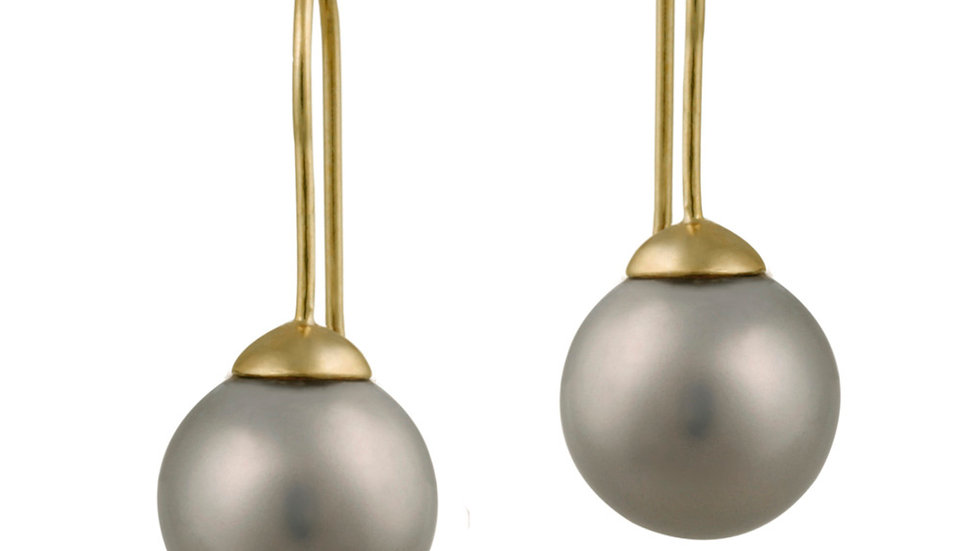 18K Gold over Sterling Silver 12mm Gray Shell Pearl Drop Earrings