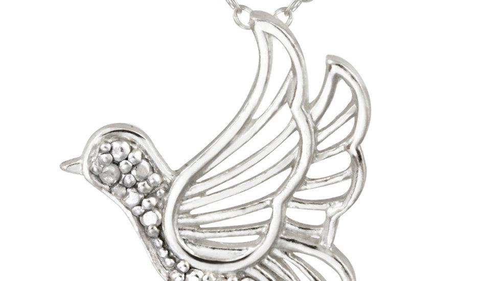 Sterling Silver Diamond Accent Dove Pendant