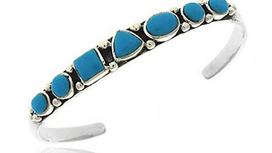 Sterling Silver .925 Reconst. Blue Turquoise Bali Bead Geometric Shape Bangle