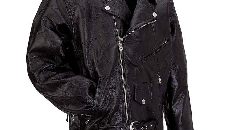 ROCK  LEATHER MOTO JACKET-M