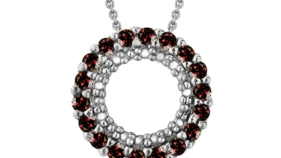 Sterling Silver .925 Genuine Garnet Stone Prong Round Eternity Pendant Slide