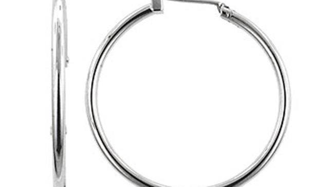 Kate Bissett E01620X-V00 Basic Silvertone Hoop Earrings