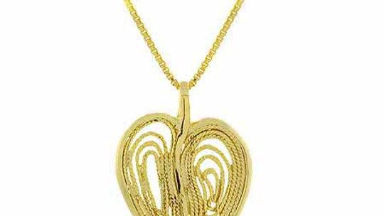 18K Gold over Sterling Silver Filigree Modern Heart Pendant
