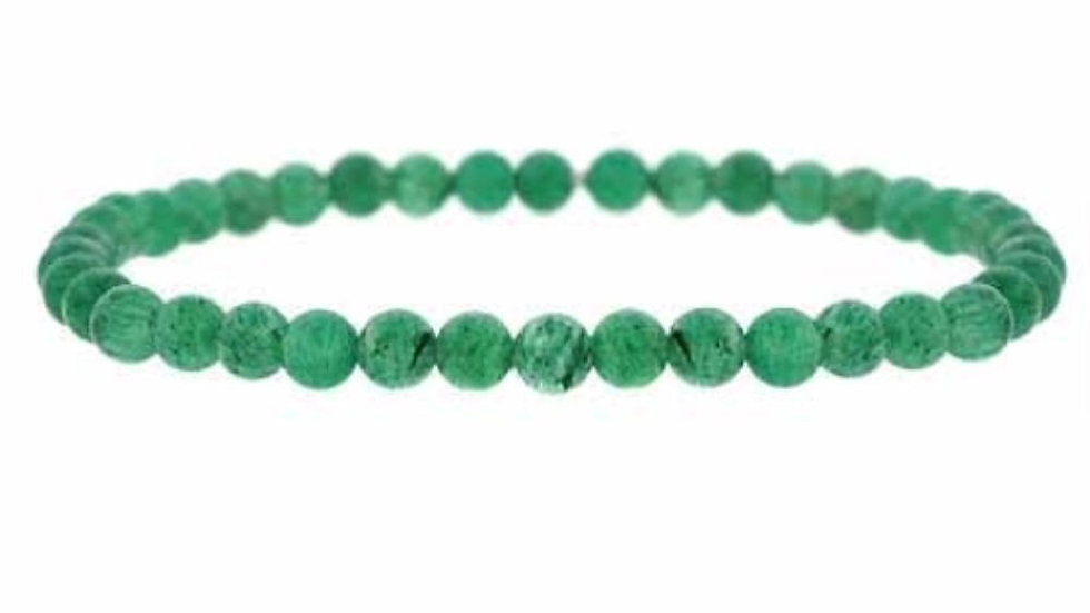 Aventurine Green Stone 4mm Bead Beaded Stretch Bracelet
