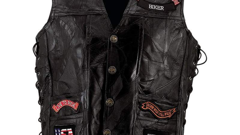 LEATHER VEST WITH 14 PATCHES-M