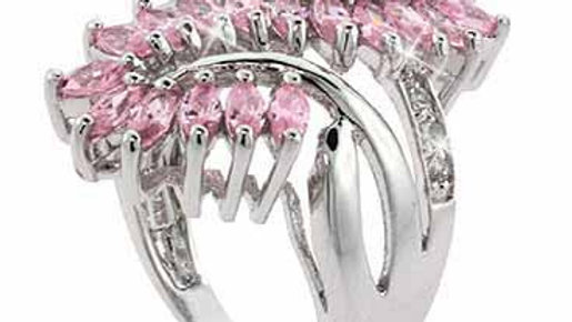 Sterling Silver Pink Leaf & Clear CZ Filigree and Vine Ring Size 7
