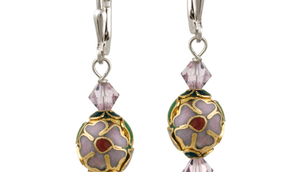 Sterling Silver Swarovski Elements & Lavender Cloisonne Oval Bead Dangle Earring