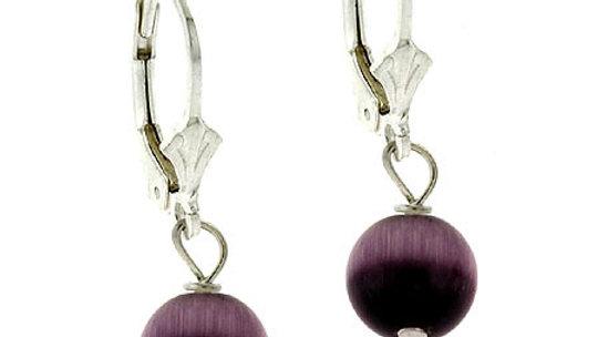 Sterling Silver 8mm Purple Cats Eye Bead Lever-Back Earrings