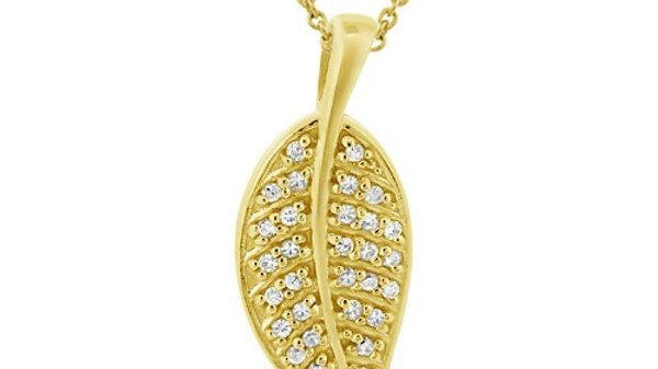 18K Gold over Sterling Silver CZ Leaf Pendant