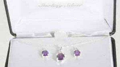 Sterling Silver Amethyst CZ Pendant & Stud Earring Jewelry Set