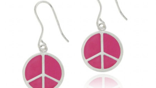 Sterling Silver Pink Enamel Peace Sign Dangle Earrings