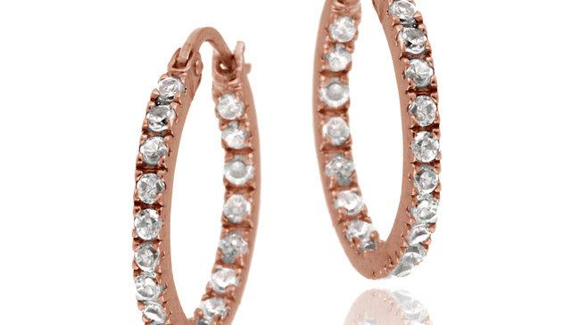 18K Rose Gold over Sterling Silver CZ Inside Out Hoop Earrings, 18mm