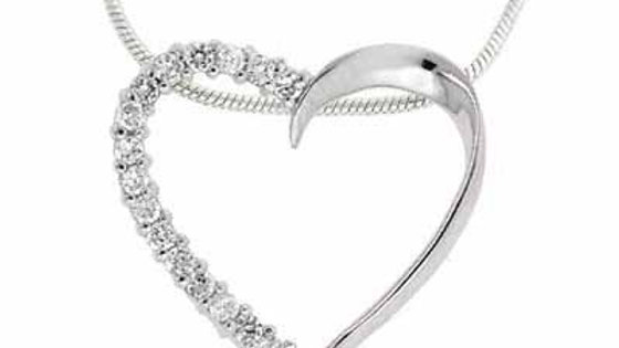 Sterling Silver Simulated Diamond CZ Open Heart Pendant/Slide