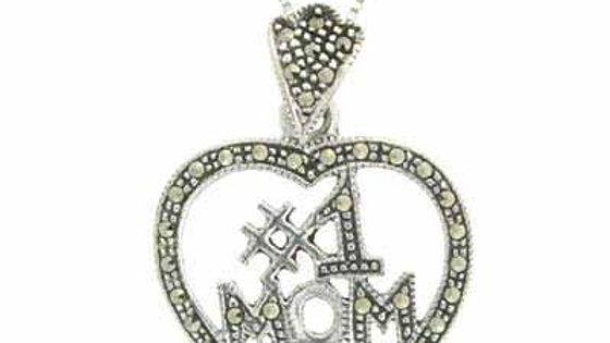 Sterling Silver Marcasite #1 MOM Open Heart Pendant