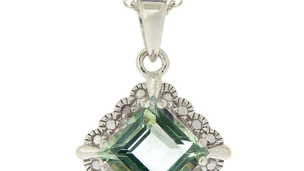 Sterling Silver 2.35ct Green Amethyst & Diamond Accent Diamond Shape Necklace
