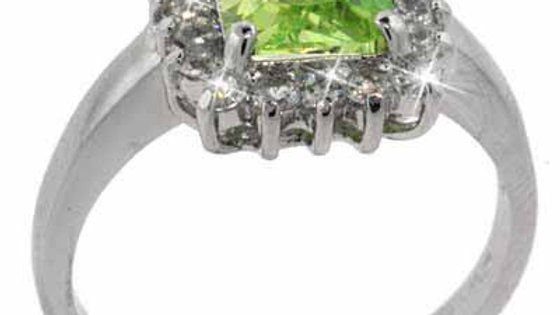 Sterling Silver Light Green & Clear CZ Ring Size 9