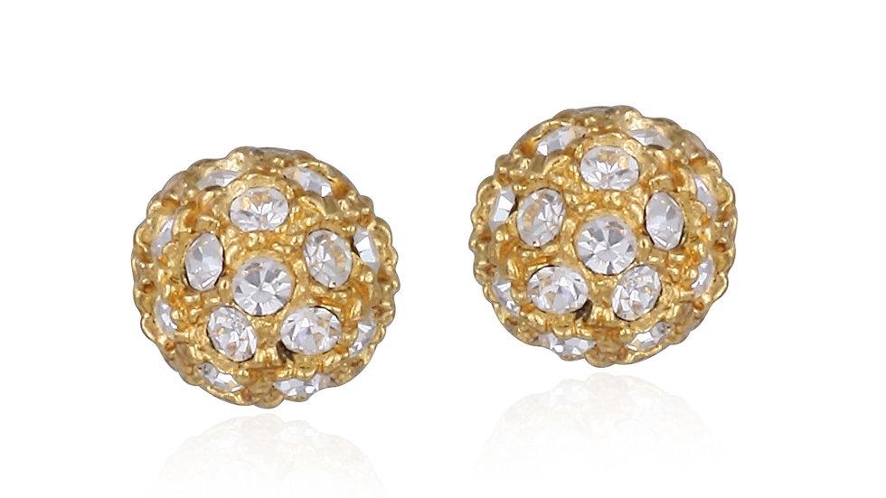 18K Gold over Sterling Silver CZ 8mm Ball Stud Earrings