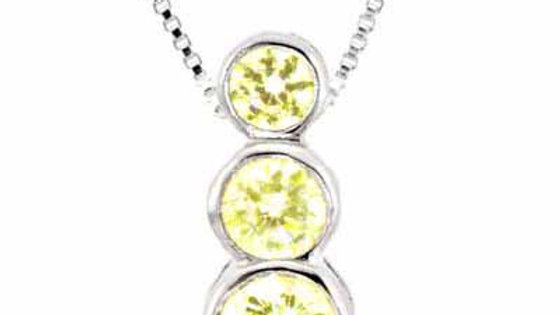 Sterling Silver Past Present and Future Yellow CZ Pendant